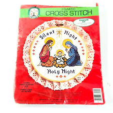 "Silent Night Stamped Cross Stitch Kit 10.5"" Wooden Hoop Vintage 1986"