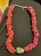 Beautiful Genuine Red Branch Coral Chunky Double Strand Coral Beaded Necklace
