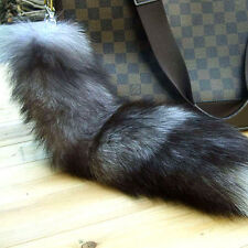 100%Real Silver Fox Fur Tail Keychain Tassel Bag Handbag Pendant Purse Accessory