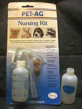 Pet Ag Nursing Kit 2 Bottles Nipples Brush Kitten Small Animals Wildlife Ferrets