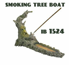 Incense Burner Handmade Polyresin 12 '' Brown Tray Smoking Tree Boat IB1524