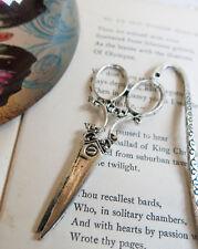 handmade silver metal bookmark vintage scissors charm gift craft sewing lover