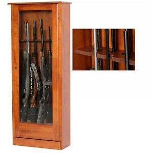 10 Gun Safe Cabinet Lock Storage Locker Brown Tall Wood Shelf Rack - New