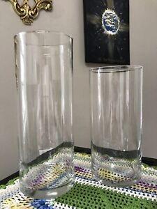 """Set Of 2 Glass Cylinder Vases 9"""" + 7"""" Wedding & Event Home Decor 3 1/4"""" Stra"""