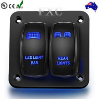 2 Gang Dual LED Light Bar Car Caravan Marine Boat Rv Rocker Switch Panel 12V 24V