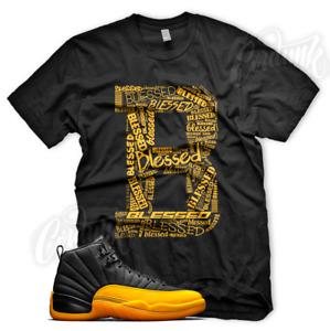 Black B BLESSED Sneaker T Shirt for Jordan Retro 12 University Gold Yellow