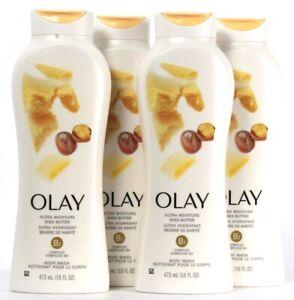 4 Bottles Olay 16 Oz Ultra Moisture Shea Butter B3 Complex Body Wash