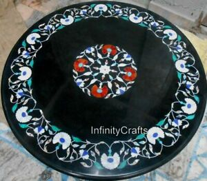 """36"""" Marble Dining Table Top Peitra Dura Art Coffee Table for Restaurant and Bars"""