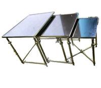 Vintage Nesting Coffee Side Tables Brass Smoked Glass Bar Cart era Maison Jansen