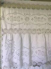Antique Bedspread Coverlet 1880 Hand Embroidered Richelieu Bobbin Lace Linen