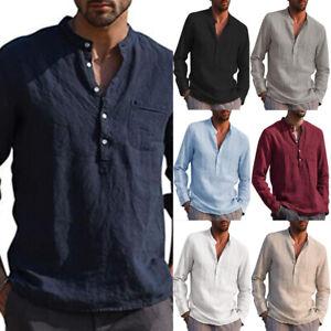 Herren Langarm Leinen hemd Baumwolle Hemden Freizeitshirt V-Ausschnitt T-Shirt