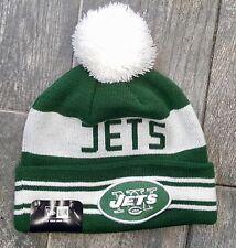 NEW YORK JETS  NEW ERA NFL WHITE STRIPE KNIT POM BEANIE CAP HAT SKULLY