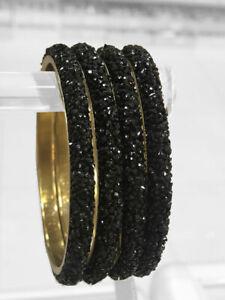 black swarovski style crushed stone fixed size bangles, indian kara ,pakistani k