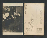 1910s MAN PLAYING VIOLIN WOMAN PLAYING PIANO RPPC REAL PICTURE POSTCARD
