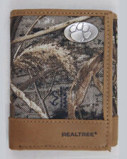 Clemson Tigers Tri-Fold Realtree Max-5 Camo & Leather Wallet w/ Concho - Zep-Pro