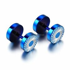 Blue Stainless Steel Whirlwind Engraved Barbell Screw Back Stud Earrings for Men