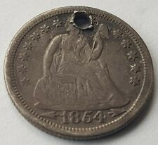 More details for usa 1854 dime silver dollar coin seated liberty