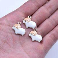 10X Cartoon White Enamel Sheep Charm Pendant For DIY Earrings/Bracelet/Necklace