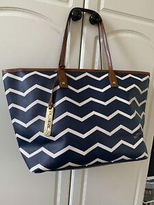 Ralph Lauren Blue Stripe Leather Multi Compartment Large Tote Bag/ Shoulder Bag