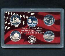 "2005 'S' USA Proof Silver ""State Quarter Set"" 5 Coins Encased"
