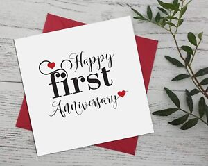 Happy Anniversary 1st first for wife, husband, boyfriend, greeting cards A11