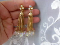 "Vintage 2.5"" Dangle Earrings AB Crystals, AB Rhinestone & Faux Pearls Clip Ons"