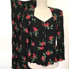 Vtg Carole Little 2 Pc Maxi Skirt Jacket Set Black Red Sz 8 Jacket 10 Skirt