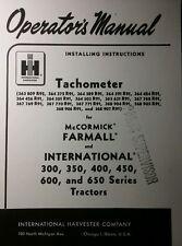 Farmall International Tachometer 300 350 450 400 Farm Tractor Service Manual Ih