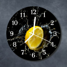 Glass Wall Clock Kitchen Clocks 30 cm round silent Lemon Yellow