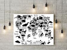Monochrome Animals World Map Art Nursery Kids Room Wall Art Print