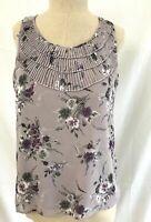 Fred David Women's Size L Sleeveless Blouse Silky Ruffle Neck Leaves Print