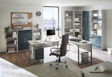 Arbeitszimmer Büro Büromöbel OFFICE LUX in lichtgrau / Glas graphit (Set 1)