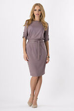 Ladies Plain Pencil Dress With Belt Boat Neck Office Tunic Plus Size 8 - 18 8986 Cappuccino 8/10 UK (m)