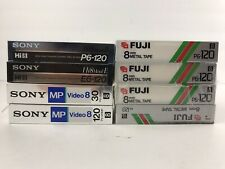 Mixed Lot of (8) 8mm Blank Video Cassette Tapes Sony Metal MP Fuji P6-120