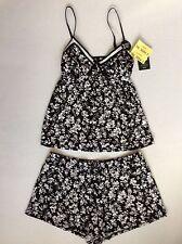 Laura Ashley Shorty Pajama set-Tank & Shorts L Black & White Floral -NEW