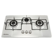Euro Style 3 Burners Stainless Steel Cooktop Fixed Built-In Gas Hob Cooker