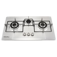 "US Seller 28.35"" Width Stainless Steel 3 Burners Cooktop Built-In NG Gas Cooker"