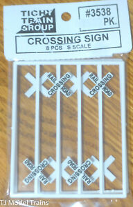 Tichy Train Group #3538 (S Scale) Crossing Signs (8 in pkg) Plastic Parts