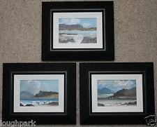 Juego de 3 originales pinturas al óleo sobre lienzo enmarcado paisajes irlandés Arte Moderno