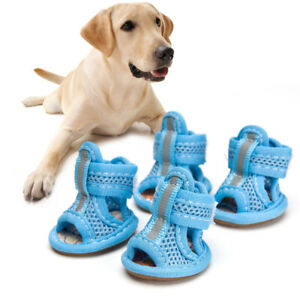 4pcs Summer Breathable Pets Dog Boots Mesh Sandals Dog Shoes Anti-slip Sneakers