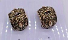 HEIDI DAUS CLIP  PEACH & AMBER SWAROVSKI CRYSTAL CLIP EARRINGS