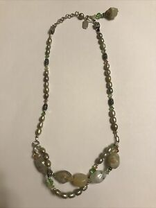 Gorgeous Tres Jolie Designer Sterling Silver, Gemstone, Pearl & Crystal Necklace