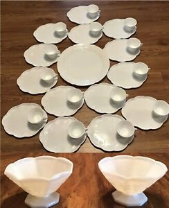 "INDIANA COLONY HARVEST MILK GLASS SNACK SETS 14"" PLATTER SERVING BOWLS 31 PIECE"