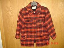 Men's Vintage MELTON USA Plaid Wool Shell Fleece Lined Full Zip Coat Large P130