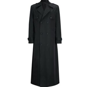 Men's Trench Coat Overcoat Dust jacket Lapel Double breasted Long sleeve Loose