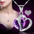 Fashion Women Heart Crystal Rhinestone Silver Chain Pendant Necklace Jewelry