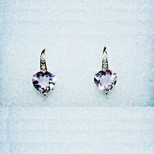 Rose de France Gem Diamond Heart Leverback Earrings 14k White Gold over 925 SS