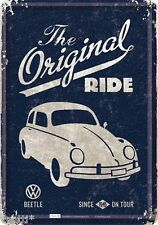 NOSTALGIC-ART cartolina lamiera 10x14 CM-The Original Ride VW BEETLE