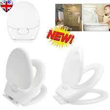 HOT!2-IN-1 Durable Easy Clean Soft Close Family Toilet Seat Oval White UK STORE
