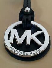 Small Michael Kors MK Silver Charm Black Saffiano Leather Long Strap Handbag Fob
